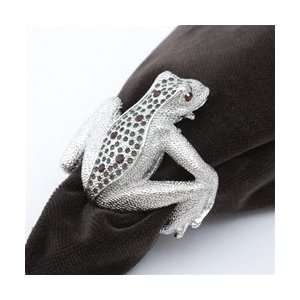 Objet Platinum Frog Napkin Rings, Multicolor Swarovski Crystals Set