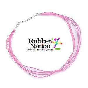 3 Strand Organza Cord Necklace PINK 18 Silver Plated