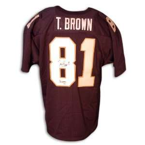 Tim Brown Signed Jersey   Blue Notre Dame Sports