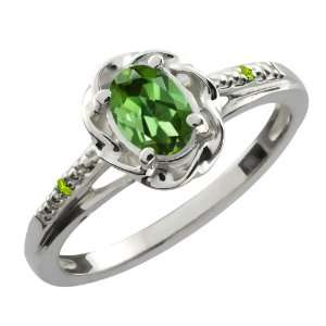 Ct Oval Green Tourmaline Green Peridot Sterling Silver Ring Jewelry