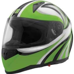 SparX Stiletto Tracker Sports Bike Motorcycle Helmet   Green / Medium