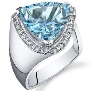 Concave Cutting 7.00 Carats Trillion Cut Swiss Blue Topaz Ring