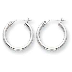 14k White Gold 2mm Hoop Earrings Jewelry