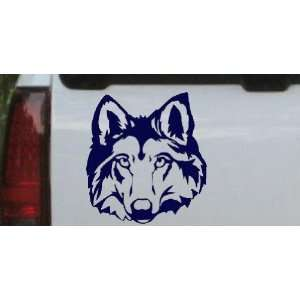 Wolf Head Animals Car Window Wall Laptop Decal Sticker    Navy 12in X