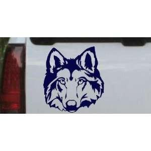 Wolf Head Animals Car Window Wall Laptop Decal Sticker    Navy 12in X
