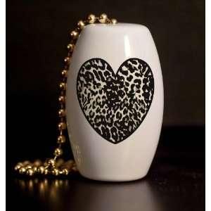 Wild Animal Skin Heart Porcelain Fan / Light Pull Home