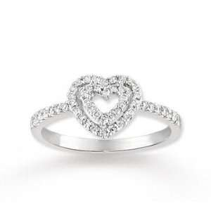 14k White Gold Two Hearts Enclosed Diamond Ring Jewelry