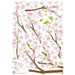 Sticker Decal   Hummingbirds in Pink Flower Tree