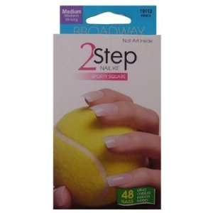 Broadway 2 Step Medium Sport Square Nail Kit, 48 Nails