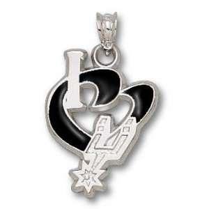 San Antonio Spurs Solid 14K Gold I Heart Logo 3/4 Enamel Pendant