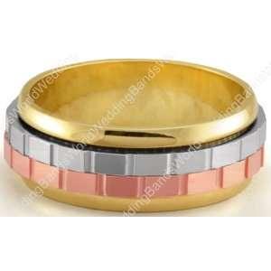 18K Gold Spinning Three Color Handmade Wedding Ring 7.00mm