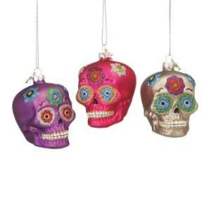 Set of 6 Day of the Dead Skull Glass Christmas Tree Ornaments
