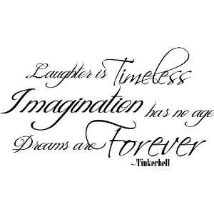 TINKERBELL QUOTE DREAMS ARE FOREVER VINYL WALL DECAL 10X18