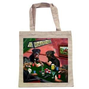 Rottweiler Four Dogs Playing Poker Tote: Home & Kitchen