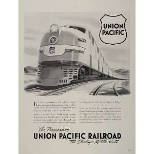 1942 Ad Union Pacific Railroad Overland Streamliner WW2