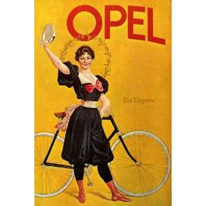 OPEL GIRL RIDING BICYCLE BIKE CYCLES VINTAGE POSTER CANVAS REPRO