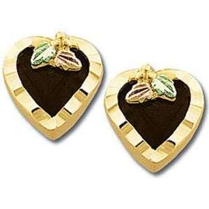 Landstroms Black Hills Gold Heart Earrings with Onyx Hearts   01688