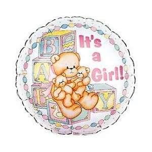Its a Girl Bear Foil Balloon