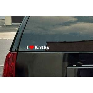 Love Kathy Vinyl Decal   White with a red heart