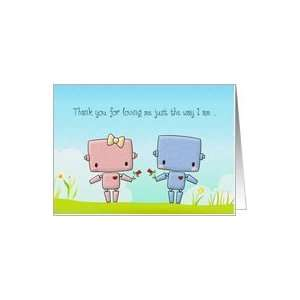 Valentines Day, Cute Robot Couple Card Health & Personal