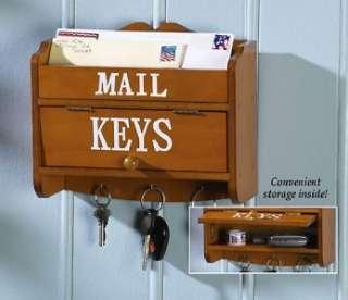 Wood Mail Letter Bills and Keys Wall Mount Organizer Holder Rack New