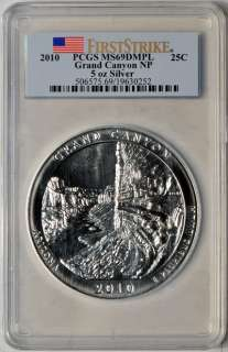 2010 5oz Silver America the Beautiful Grand Canyon PCGS MS69 DMPL