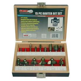 Grip 35410 15 Piece Tungsten Carbide Router Bit Set