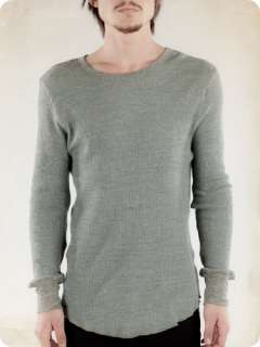 New Alternative Apparel Mens Long Sleeve Cotton Waffle Heather Thermal