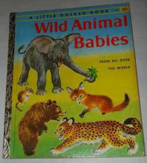 VINTAGE WILD ANIMAL BABIES GOLDEN BOOK 1ST ED A