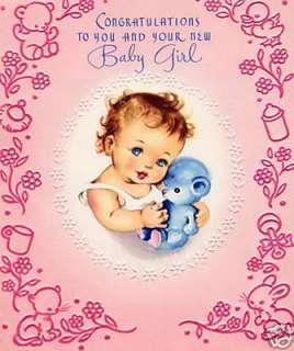Vintage Magnet New Baby Girl Greeting Card Gifts V69