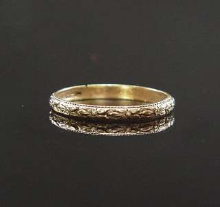 ANTIQUE VICTORIAN ORANGE BLOSSOM ETERNITY BABY PINKY RING YELLOW GOLD