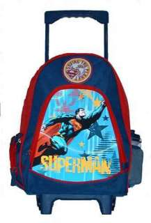 SUPERMAN large Rolling Backpack + lunchbox set new