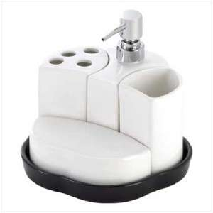 Pc Modern Bathroom White Black Ceramic Bath Caddy Set