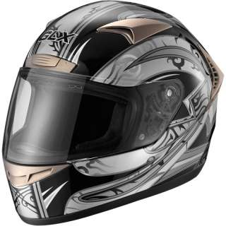 GLX DOT Tribal Full Face Motorcycle Helmet, Silver, XL