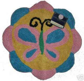 Pink Blue Butterfly Butterflies Flower Bath Mat Rug NEW
