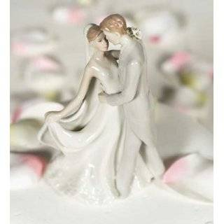 Elegant Porcelain Wedding Cake Toppers   First Kiss Bride and Groom