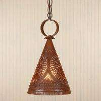 RUSTIC Punched Tin Ceiling Light  Hanging Primitive Pendant