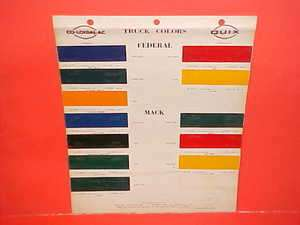 FEDERAL MACK REO WHITE TRUCK PAINT CHIPS COLOR CHART BROCHURE 46 56