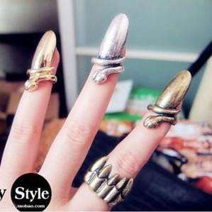 Lady Gaga Fashion Punk Cool Finger Nail Snake Design Rings (3 Color