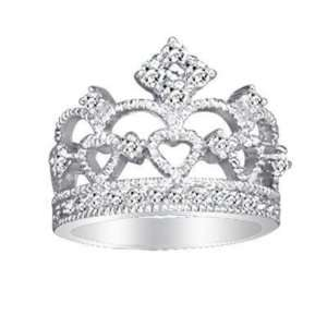 Sterling Silver Crown Design Pave CZ Ring
