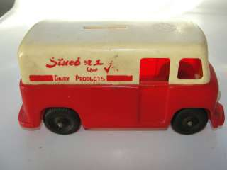 plastic,rare ,Stuebers Dairy Product delivery truck advertising bank