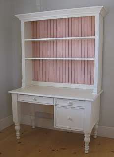 COTTAGE STYLE Solid Wood Small Library DESK with TOP HUTCH 30 Paints