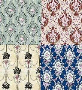 Doll House Wallpaper choice of 12 Vintage designs Green Pink Blue