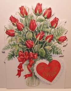 Wilson To My Wife Valentines Day Card, , Dozen Red Roses Vased CG3058