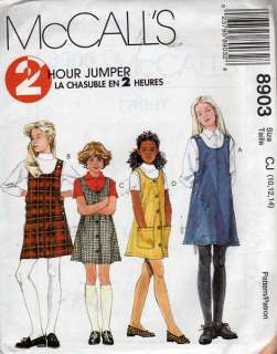 8903 McCalls Pattern Girls Easy Fall Jumper Dresses 10
