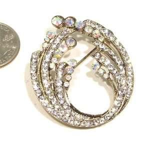 Austrian Rhinestone Flower Design Gold Plated Brooch Pin Jewelry