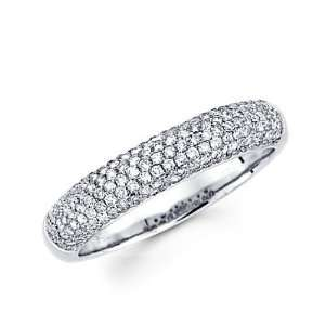Size  4   14k White Gold Round Diamond Pave Dome Ring Band .57 ct (G H