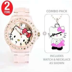 Hello Kitty Sports Quartz Wrist Watch Translucent Pink with Diamond