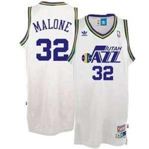 Karl Malone Utah Jazz White Adidas Throwback Jersey   Size 52   XL