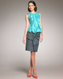 Ruffle Front Taffeta Blouse, Tweed Pencil Skirt & Classic Skinny Belt